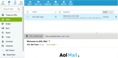AOL Mail Error Message