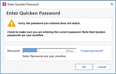 Lost Quicken Password