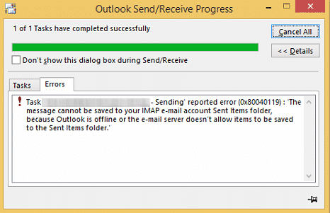 Outlook Error 0x80040600 & 0x80040119