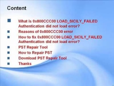 Outlook Error 0x800CCC00 Authentication did not load