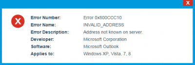 Outlook Error 0x800CCC10