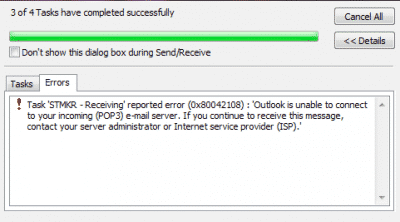Outlook Error Code 0x80042108