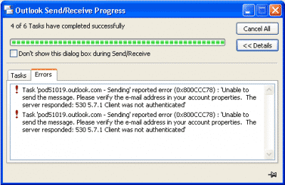 Outlook Error Code 0x800CCC78