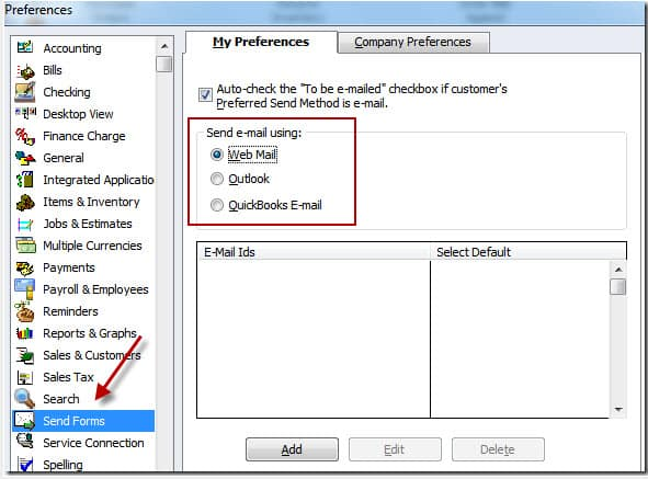 QuickBooks Not Sending Emails Windows 8