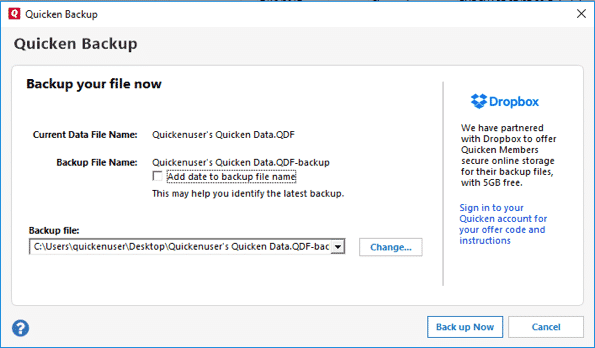 Quicken Backup Error