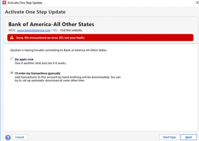 Quicken Bank Of America Not Updating