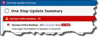 Quicken Error cc-503