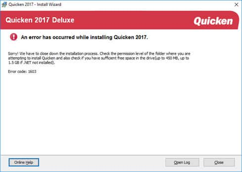Quicken Install Error 1603