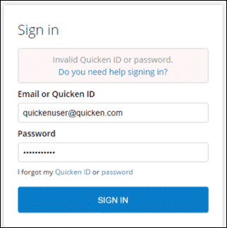 Quicken Not Accepting Password
