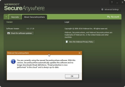 Webroot not updating