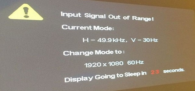 HP Desktop Input Signal Out Of Range Error