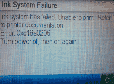 HP Printer Error 0xc18a0206