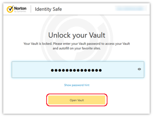 How to Open Vault from Norton Identity Safe Toolbar on Web Browser?