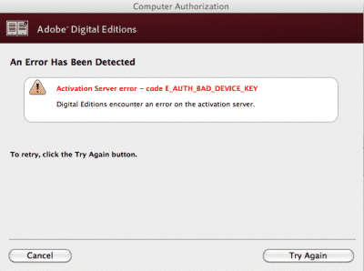 Adobe key error
