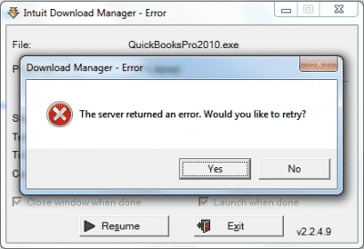 Quickbooks download error.