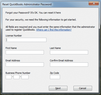 Quickbooks forget password error